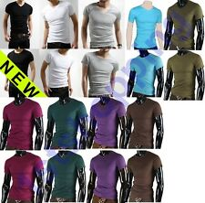 New Mens Slim Fit V-neck/crew neck T-shirt Short Sleeve Muscle Tee Size S M L XL