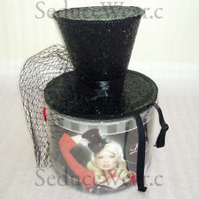 Mini Glitter Top Hat with Veil Women's Halloween Accessory Brand New