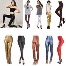 Sexy High Waist/Waisted Stretchy Vinyl Leather Wet Look Leggings Pants 4S