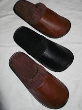 MENS MULES SLIPPERS SIZES 6-11 BLACK,LT BROWN,DK BROWN LEATHERETTE CORD LINED