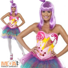 Ladies' Candy Queen Fancy Dress Pop Star Katy Perry Costume Outfit 6,8,10,12,14