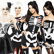 Sexy Skeleton Ladies Fancy Dress Halloween Costume Adult Outfit + FREE Tights