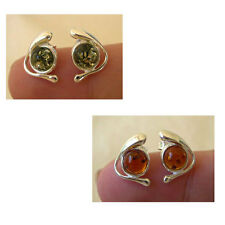 BALTIC HONEY or GREEN AMBER & STERLING SILVER STUD EARRINGS