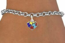 AUTISM Awareness Heart Puzzle Mini Necklace Earring Bracelet Mother Girl Jewelry