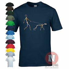 SKELETON DOG WALKER canine doggy funny urban art Banksy style t-shirt