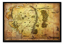 Framed The Hobbit Movie Map Poster Magnetic Notice Board Including Magnets