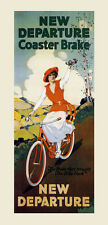 Girl Riding Bicycle Bike New Departure Coaster Brake Vintage Poster Repo FREE SH