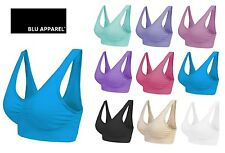 WOMENS LADIES COMFORT COLOUR SEAMLESS BRA SHAPE WEAR SIZE S M L XL XXL XXXL