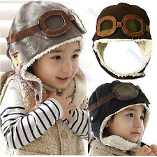 New Cute Baby Toddler Boy Girl Kids Pilot Aviator Cap Warm Hats Earflap Beanie