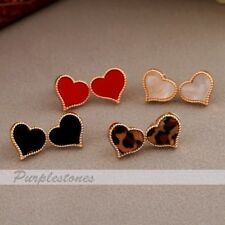Korean Fashion Sweet Colorful Enamel Love Heart Shape Gold border Stud Earring