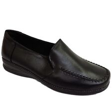 LADIES SMART COMFORT-ABLE BLACK SLIP-ON LOAFERS WOMENS SHOES SIZES 3-8
