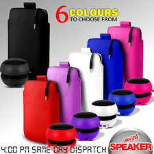 LEATHER PULL TAB POUCH SKIN CASE COVER & MINI SPEAKER FOR VARIOUS MOBILEPHONES