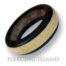 Ring RINGS WEDDING  organic two tone new wood wooden ornate band HANDMADE AR043
