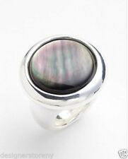 Simon Sebbag Sterling Silver Round Hammered Black Tahitian Stone Ring