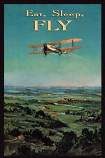 Eat Sleep Fly Airplane Plane Travel Tourism FINE Vintage Poster Repro FREE S/H