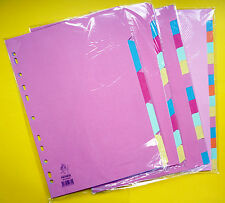 A4 Tabbed Punched File Multi Colour Dividers 5 10 12 15 + 20 & Extra Wide Tabs