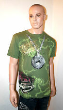 CHRISTIAN AUDIGIER Ed Hardy MEDALLION T-Shirt RHINESTONE Car Bling TEE Shirt NEW