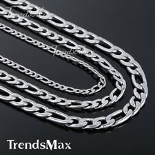 "5/7/9mm MENS Boys Chain Figaro Silver Tone Stainless Steel Necklace 18""-36inch"