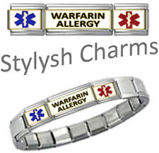 WARFARIN ALLERGY MEDICAL ID 9mm Italian Charm SILVER TONE MATTE Starter Bracelet