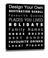 PERSONALISED DESTINATION SCROLL CANVAS PRINT CHOOSE SIZES FRAMING & COLOUR