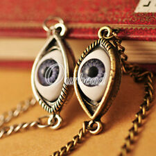 1 Antique Bronze Silver Evil Blue Eye Emo Eyeball Chain Necklace Scary Quirky