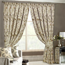 TAPESTRY CURTAINS Heavy Vintage Jacquard Floral Lined Pencil Pleat Curtain
