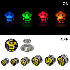 Screw Fit Surgical Steel Light Up Robot Logo Ear Plugs - PSLGTRBT
