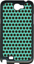 Teal Blue and Brown Polka Dots on Samsung Galaxy Note II 2 Hard Case Cover