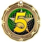 """3"""" Spin 5th Fifth Place Medals w/Ribbon Any Qty Ships Flat Rate in USA $5.49"""