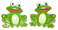 CUTE FROG WITH WOBBLE EYES STUD or CLIP ON EARRINGS (S283)