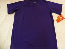 Youth Boys RAWLINGS PURPLE Baseball ONE Button HENLEY JERSEY 100% POLYESTER