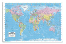 Large Political World Map Wall Chart Poster Published 2013 - Laminated Available