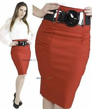 Slim Stretch Career Fitted Long High Waist Knee Pencil Belted belt fitted SKIRT
