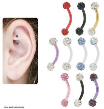 Titanium Curved Barbell Rook Earring with Cz Jewels - N80295-Rook