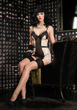 Sexy Lingerie Vintage Design Ruffle Trim Sequin Lace Garter Dress and G-string