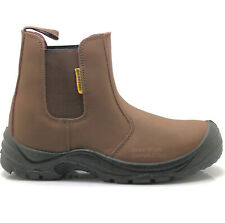 MENS LEATHER SAFETY TRAINERS SHOES BOOTS WORK STEEL TOE CAP ANKLE SIZE 5-12UK