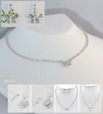Flower Girl Necklace Set Heart or Square Silver Children's Jewelry New & Boxed