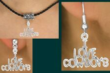 I LOVE COWBOYS  Texas Barrel Necklace Western Cowgirl Rodeo Horse Cowboy Jewelry