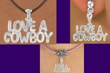I LOVE A COWBOY Western Cowgirl Rodeo Texas Barrel Necklace Horse Cowboy Jewelry