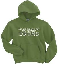Naughtees Clothing Hoodie On The 8th Day God Created Drums Poly Cotton Blend New