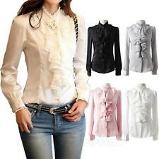 Ladies Spitzenbluse Satin Shirt damen Top rüschen bluse chiffon 40 38 36 34 32