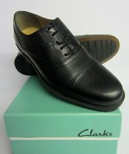 Clarks Mens Astute Top Black Leather Laced Shoes Fitting (H) Wide