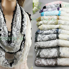 100%Cotton Stitching Paisley Lace Trim Tassel Floral Thin Long Scarf Shawl Retro