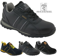 NEW MENS LEATHER SAFETY TRAINERS SHOES LADIES BOOTS WORK STEEL TOE CAP 3-14 UK