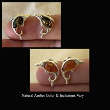 BALTIC HONEY or GREEN AMBER & STERLING SILVER DOLPHIN STUD EARRINGS