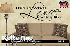 #012 Wall Art ~ THIS IS WHAT LOVE LOOKS LIKE - Quote Decal Sticker