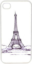 Sketched Blue Paris Eiffel Tower Design on iPhone 4 4s Case Cover