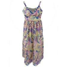 LADIES CREAM PURPLE SUMMER FLORAL STRAPPY ZIP LINED MIDI MAXI DRESS SIZES 8-18