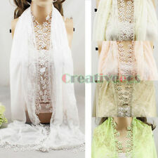 Floral Lace Cotton Long Scarf With Funky Fun Lace Trim Shawl Mantilla Wrap Stole