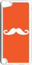 Plain Orange and White Mustache on iPod Touch 5th Gen 5G TPU Case Cover